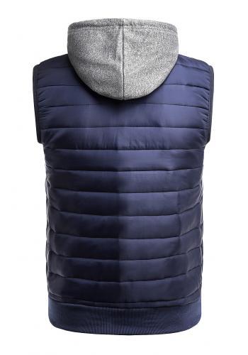 Pánská oteplená vesta s kapucí v tmavě modré barvě