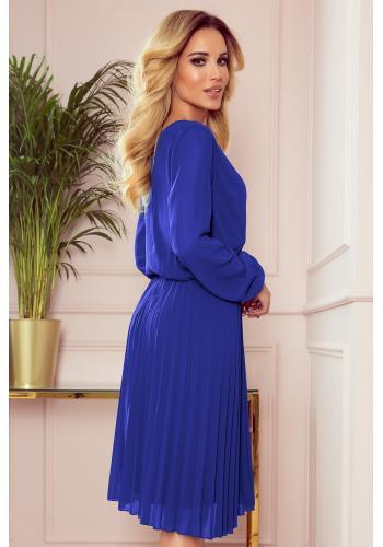 Modré plisované šaty s dlouhým rukávem pro dámy