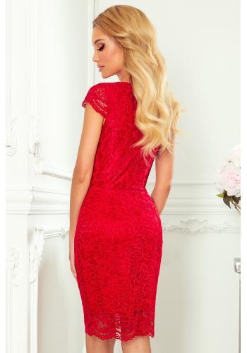 Červené krajkové šaty s výstřihem pro dámy