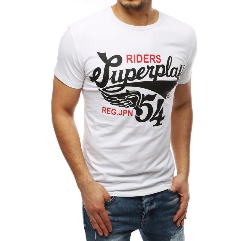 Bílé klasické tričko s potiskem pro pány