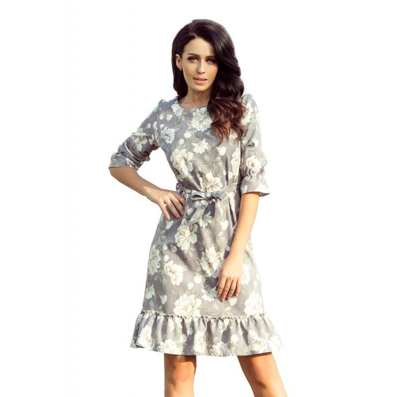 Dámské květované šaty s volány a vázáním v šedé barvě
