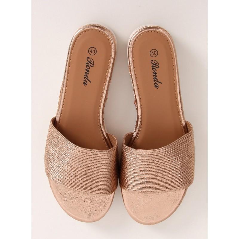 Dámské módní pantofle s nízkým klínovým podpatkem v růžovo-zlaté barvě