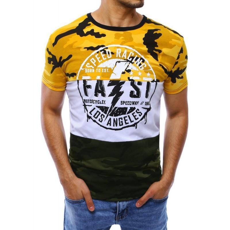 Žluté maskáčové tričko s potiskem pro pány