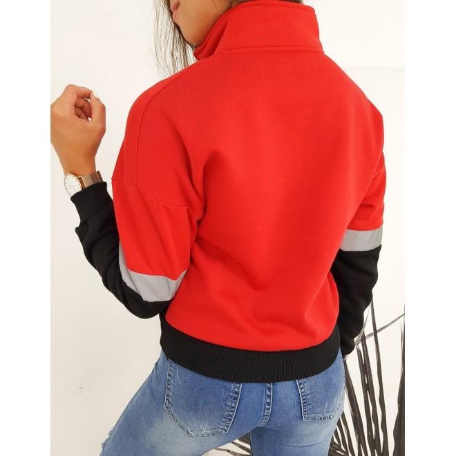 Sportovní dámská mikina červené barvy s krátkým zipem