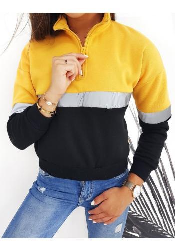 Žlutá sportovní mikina s krátkým zipem pro dámy