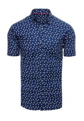 Pánská košile s motivem palem v tmavě modré barvě