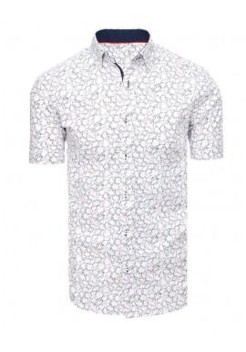 Vzorovaná pánská košile bílé barvy s krátkým rukávem