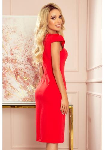 Dámské elegantní šaty s krátkým rukávem v červené barvě