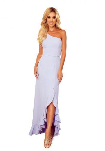 Dámské dlouhé šaty na jedno rameno ve světle fialové barvě