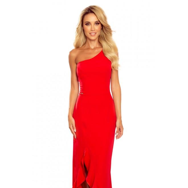 Červené dlouhé šaty na jedno rameno pro dámy