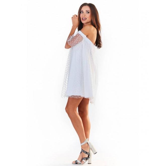 Bílé tylové šaty s rukávy pro dámy