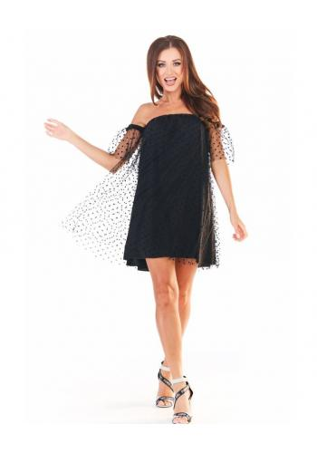 Tylové dámské šaty černé barvy s rukávy