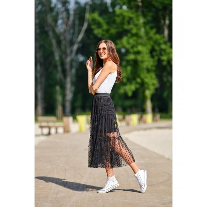 Černá tylová sukně s puntíky pro dámy