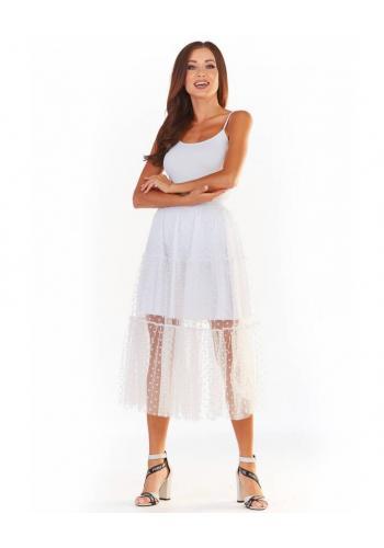 Dámská tylová sukně s puntíky v bílé barvě