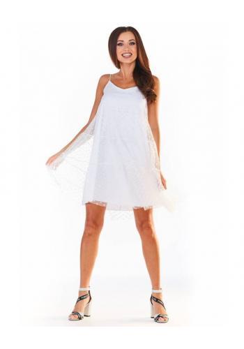Dámské tylové šaty na ramínka v bílé barvě