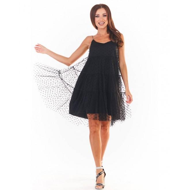 Černé tylové šaty na ramínka pro dámy