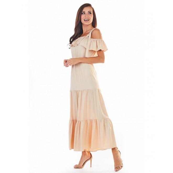 Dámské dlouhé šaty s volány v béžové barvě
