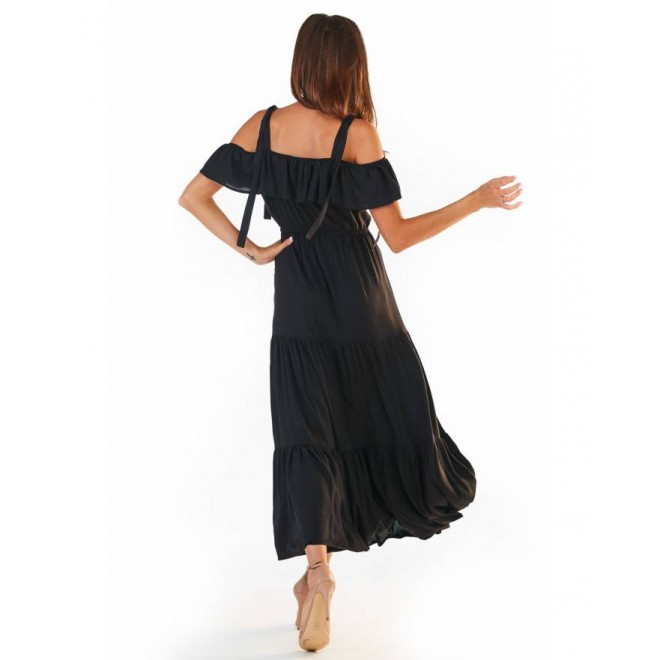Černé dlouhé šaty s volány pro dámy