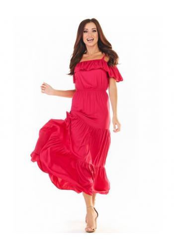 Dlouhé dámské šaty růžové barvy s volány