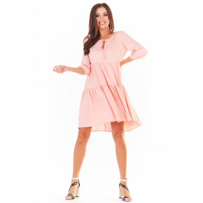 Dámské volné šaty na léto v růžové barvě