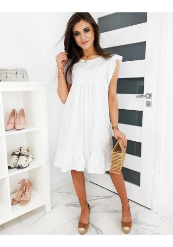 Bílé volné šaty s ozdobnými volány pro dámy ve slevě