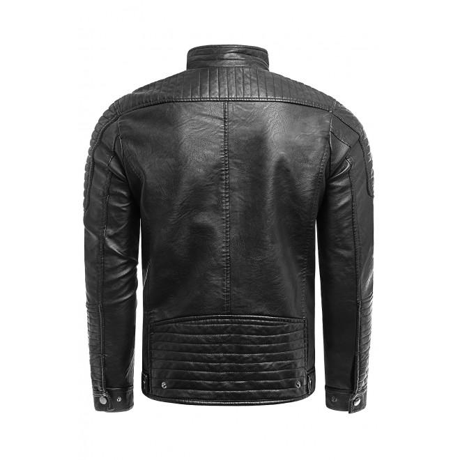 Černá přechodná koženka s prošíváním pro pány