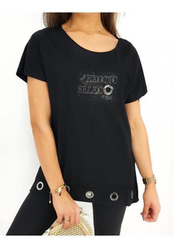 Černá volná halenka s ozdobným nápisem pro dámy