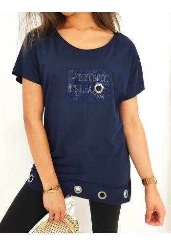 Volná dámská halenka tmavě modré barvy s ozdobným nápisem