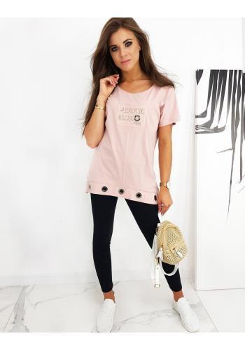 Růžová volná halenka s ozdobným nápisem pro dámy