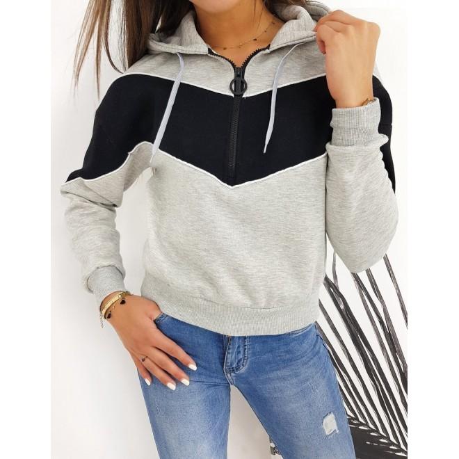 Dámská sportovní mikina s krátkým zipem v světle šedé barvě