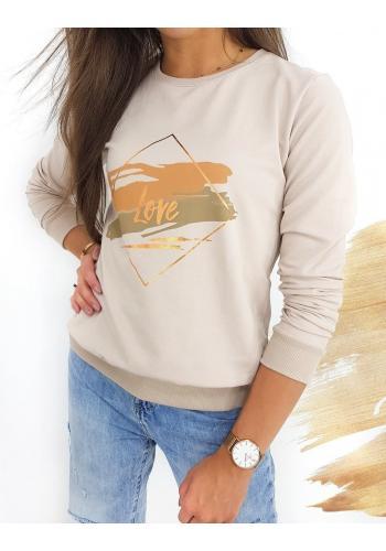 Klasická dámská mikina béžové barvy s potiskem