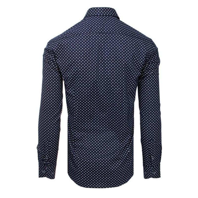 Tmavě modrá vzorovaná košile s dlouhým rukávem pro pány