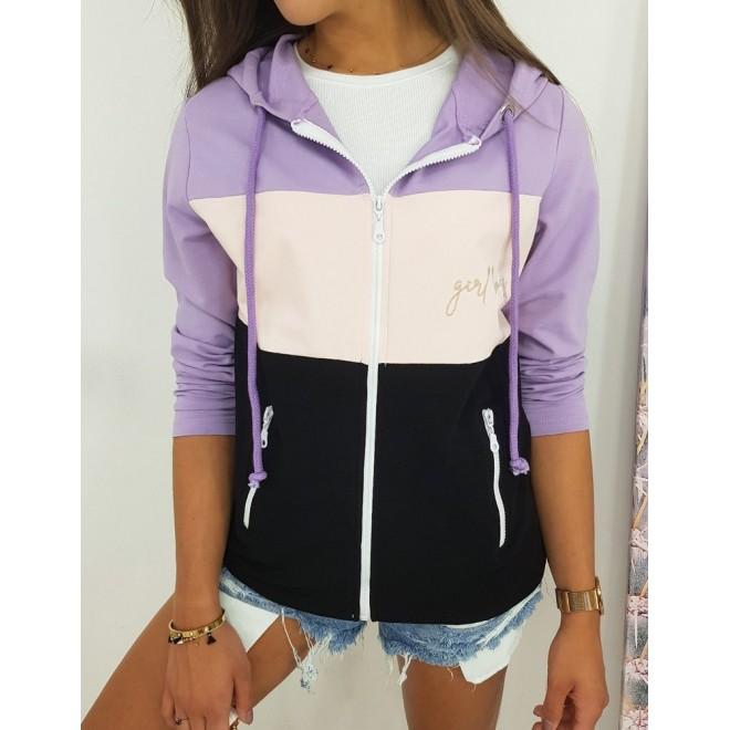 Módní dámské mikiny fialové barvy s výšivkou Girl Boss