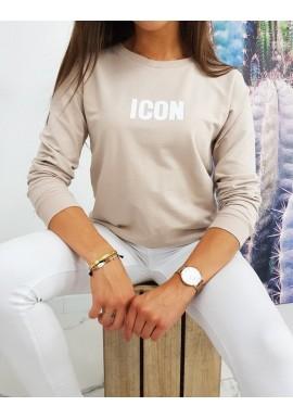 Klasická dámská mikina béžové barvy s potiskem ICON