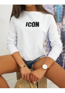 Bílá klasická mikina s potiskem ICON pro dámy