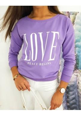Klasická dámská mikina fialové barvy s potiskem