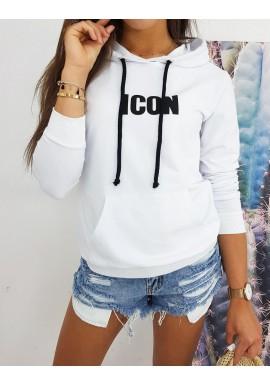 Bílá stylová mikina s potiskem ICON pro dámy