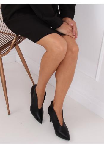 Elegantní dámské polobotky černé barvy na podpatku