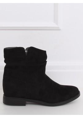 Dámské semišové boty na skrytém podpatku v černé barvě
