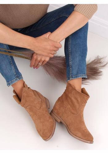 Semišové dámské boty béžové barvy na skrytém podpatku