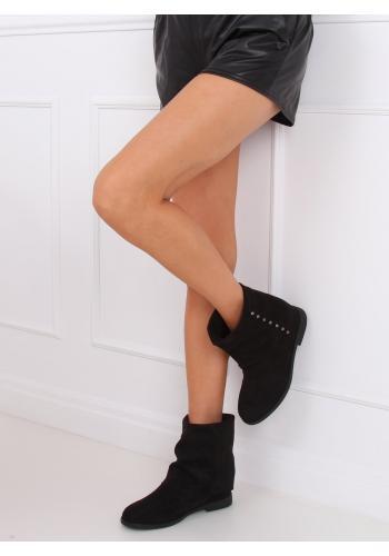 Černé semišové boty na skrytém podpatku s límcem pro dámy