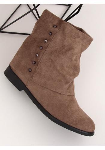 Semišové dámské boty béžové barvy na skrytém podpatku s límcem