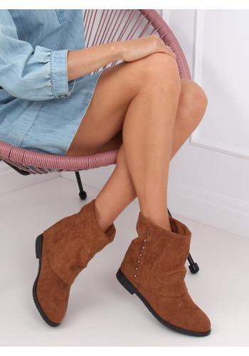 Dámské semišové boty na skrytém podpatku s límcem v hnědé barvě