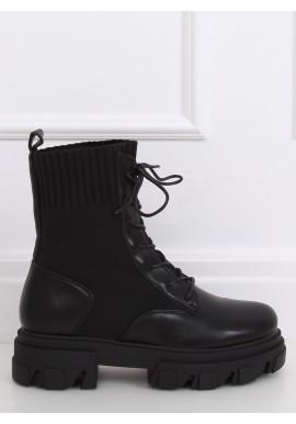 Stylové dámské boty černé barvy s ponožkovým svrškem