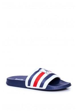 Proužkované pánské pantofle Big Star tmavě modré barvy
