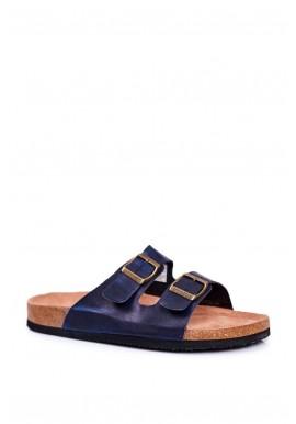 Tmavě modré módní pantofle s přezkami pro pány