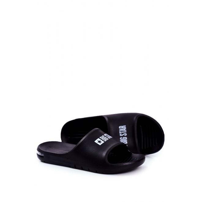 Černé gumové pantofle Big Star se vzduchovým polštářem pro pány