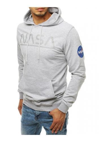 Módní pánská mikina světle šedé barvy s potiskem NASA