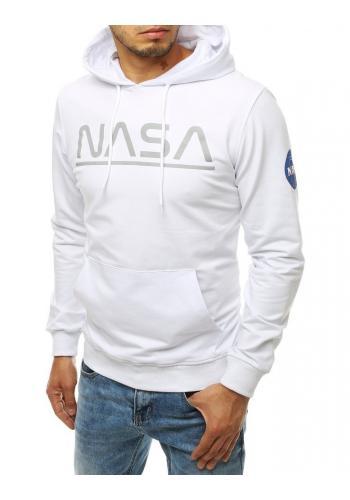 Módní pánská mikina bílé barvy s potiskem NASA