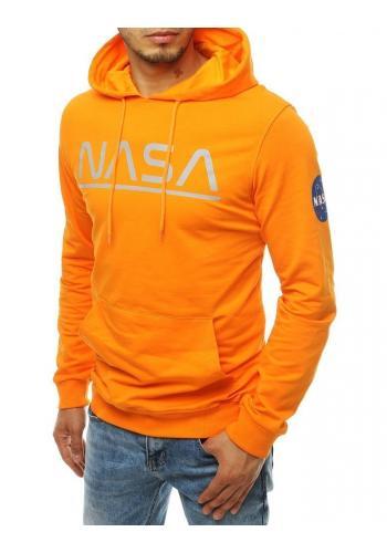Oranžová módní mikina s potiskem NASA pro pány